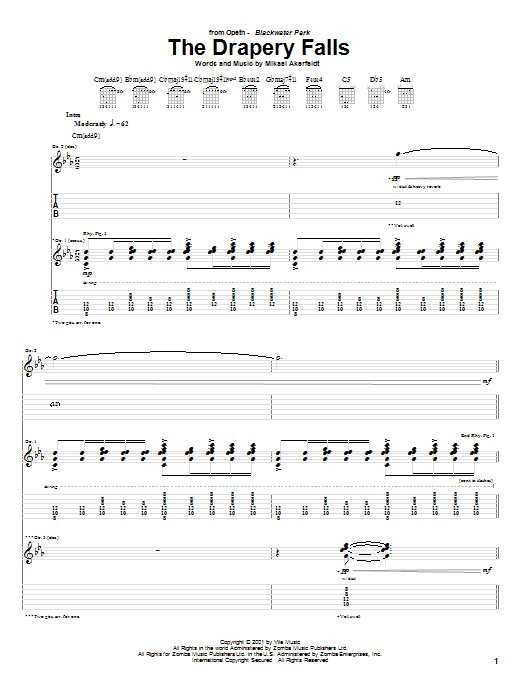 Opeth The Drapery Falls sheet music preview music notes and score for Guitar Tab including 18 page(s)