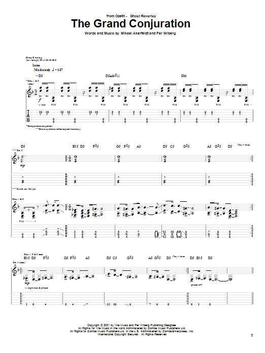 Opeth The Grand Conjuration sheet music preview music notes and score for Guitar Tab including 13 page(s)