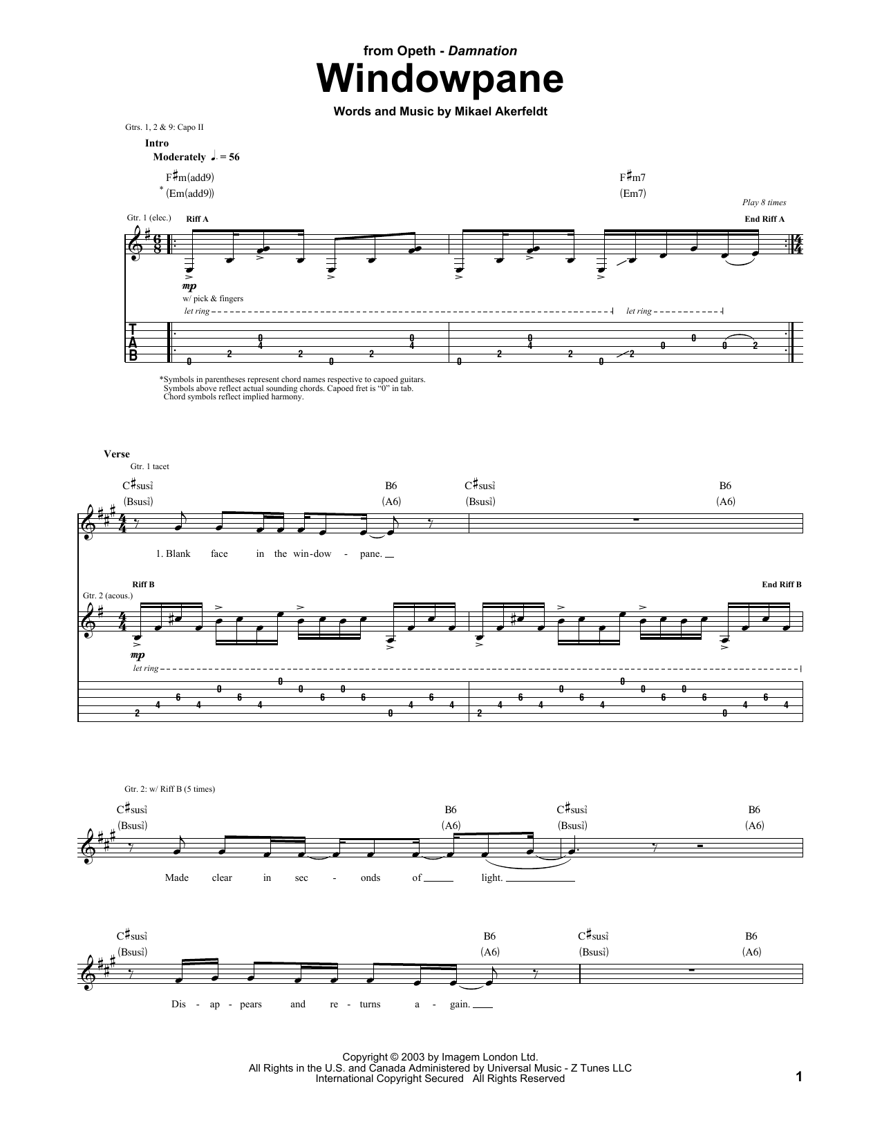 Opeth Windowpane sheet music preview music notes and score for Guitar Tab including 11 page(s)