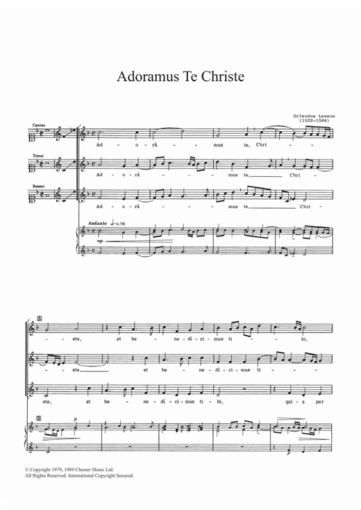 Download Orlandus Lassus 'Adoramus Te Christe' Digital Sheet Music Notes & Chords and start playing in minutes