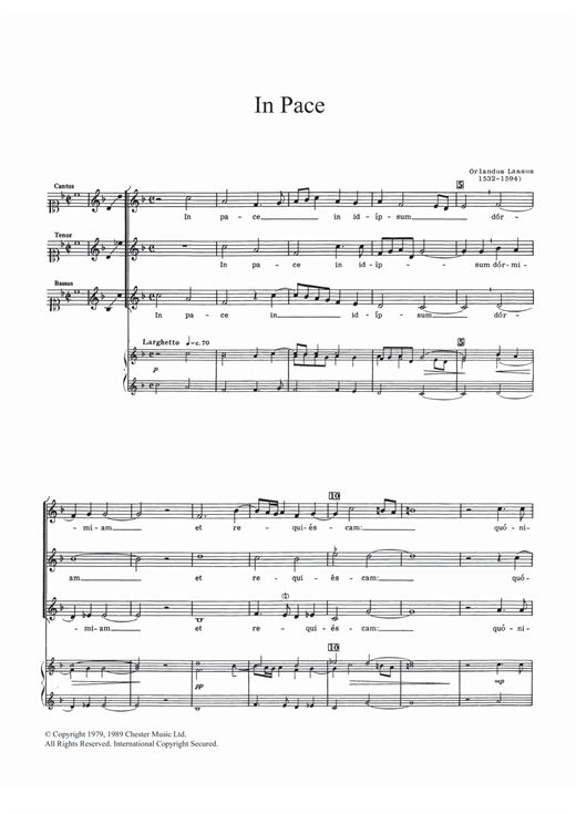 Download Orlandus Lassus 'In Pace' Digital Sheet Music Notes & Chords and start playing in minutes