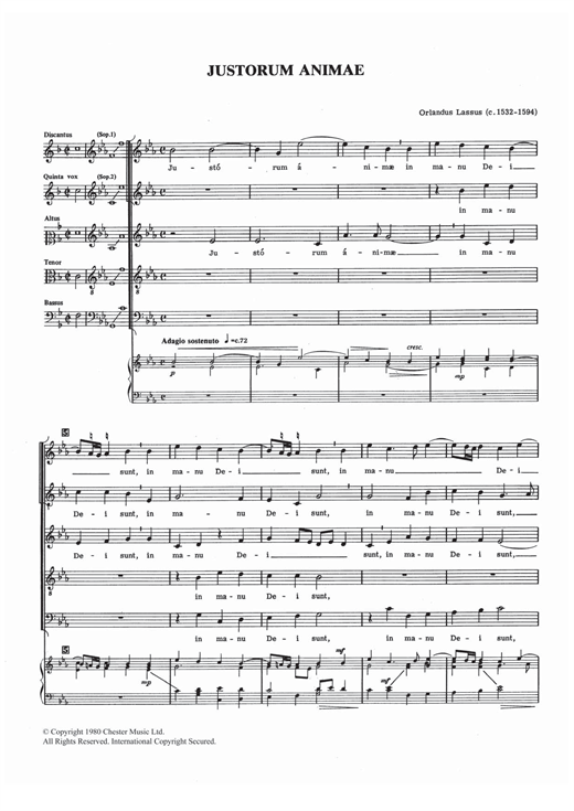 Download Orlandus Lassus 'Justorum Animae' Digital Sheet Music Notes & Chords and start playing in minutes