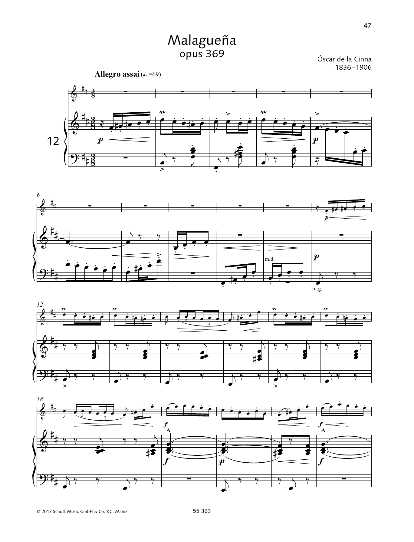 Oscar de la Cinna Malaguena sheet music preview music notes and score for Woodwind Solo including 7 page(s)