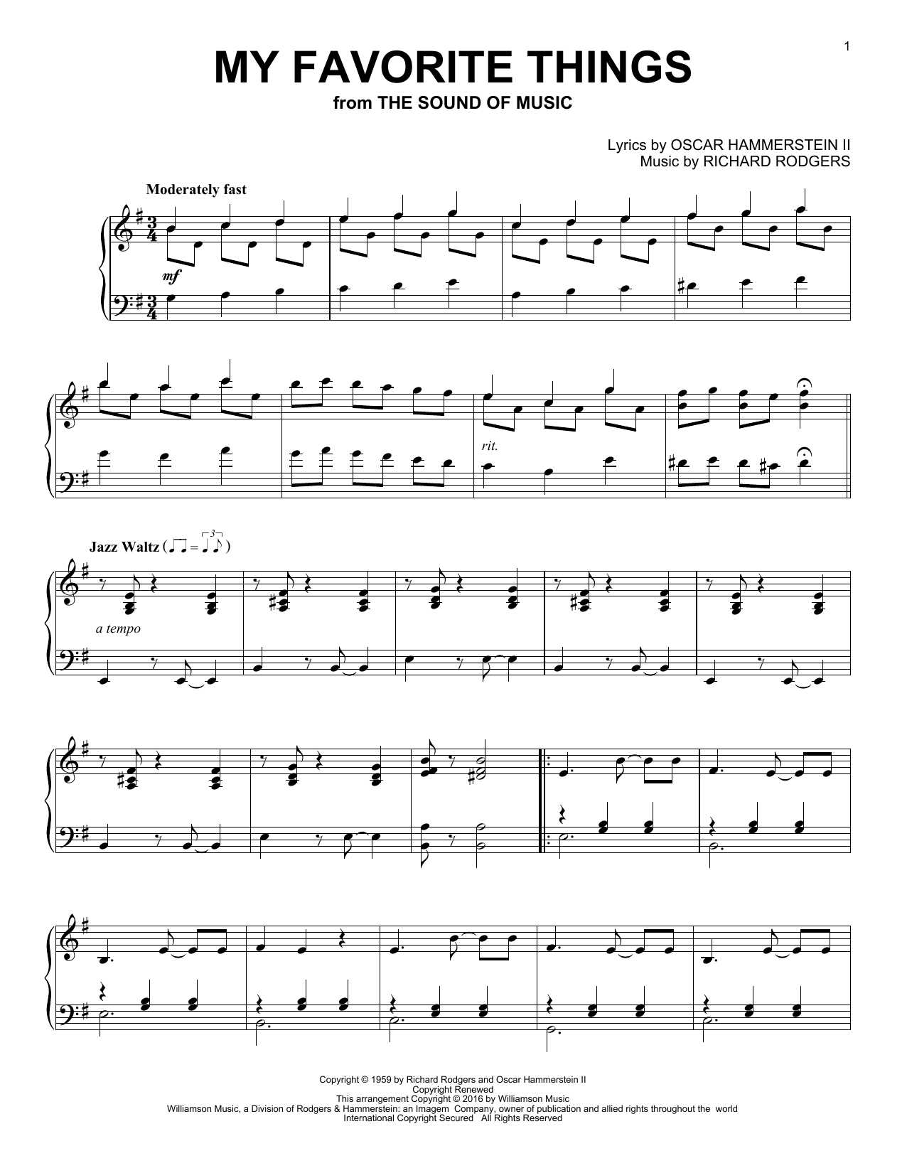 Download Oscar Hammerstein II 'My Favorite Things' Digital Sheet Music Notes & Chords and start playing in minutes
