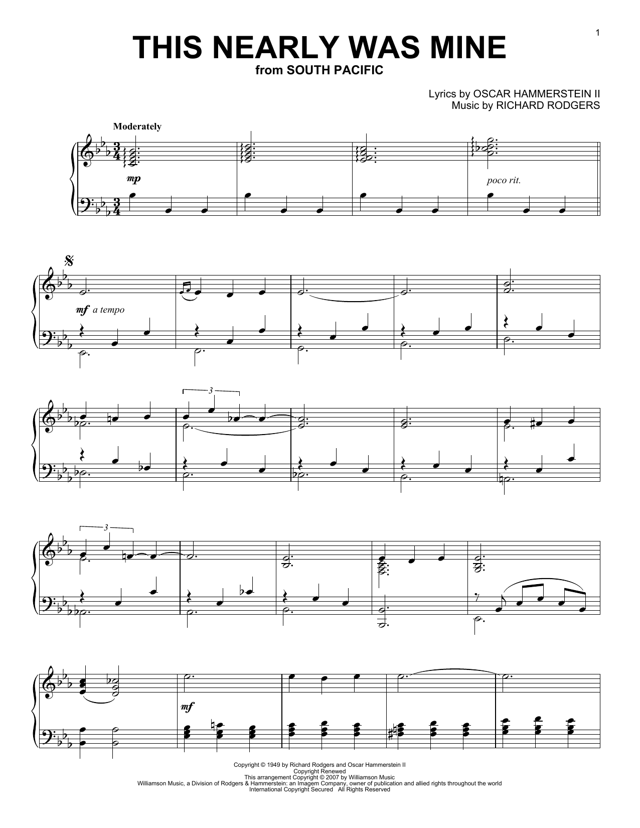 Download Oscar Hammerstein II 'This Nearly Was Mine' Digital Sheet Music Notes & Chords and start playing in minutes
