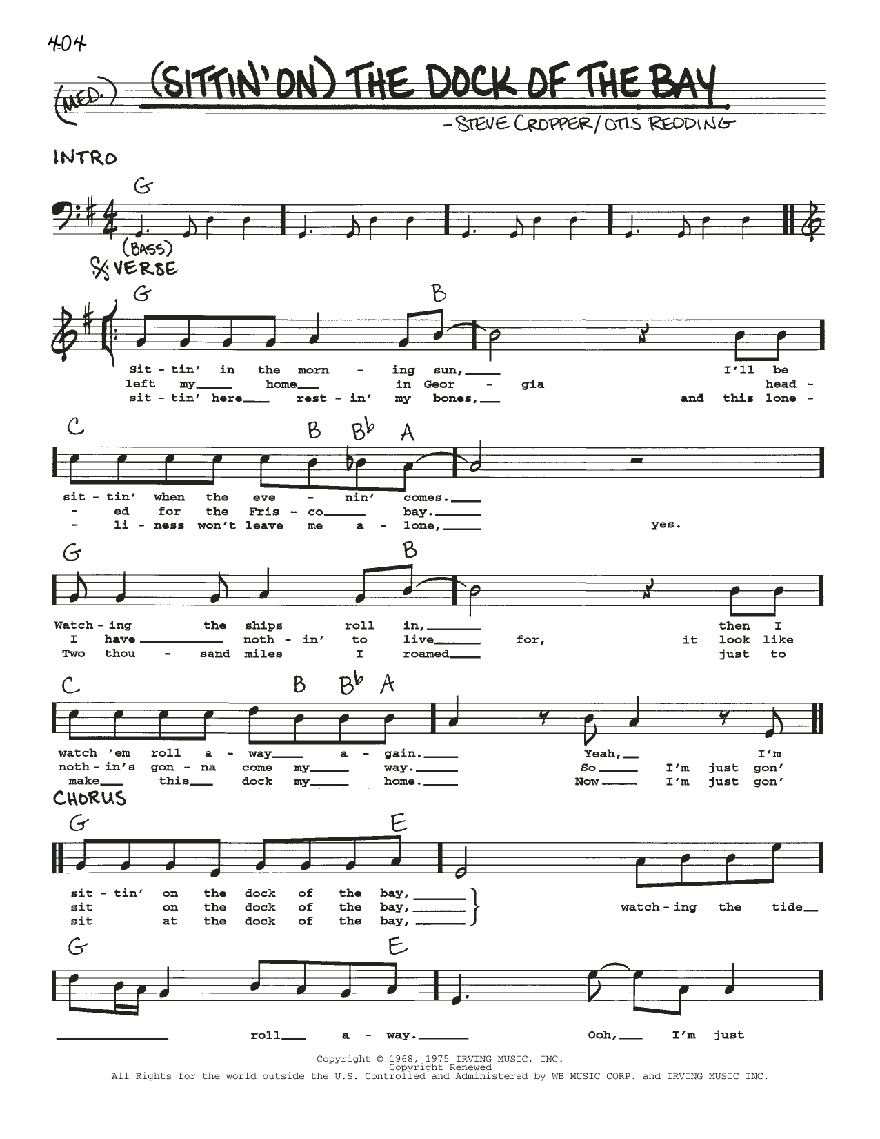 Otis Redding (Sittin' On) The Dock Of The Bay sheet music notes and chords
