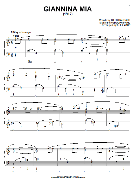 Download Otto Harbach 'Giannina Mia' Digital Sheet Music Notes & Chords and start playing in minutes