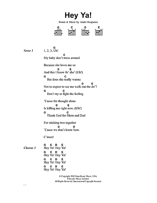 Download OutKast 'Hey Ya!' Digital Sheet Music Notes & Chords and start playing in minutes