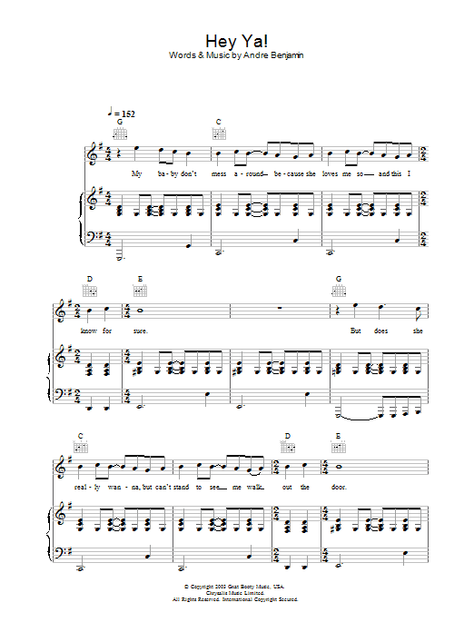 Outkast Hey Ya! sheet music preview music notes and score for Keyboard including 5 page(s)