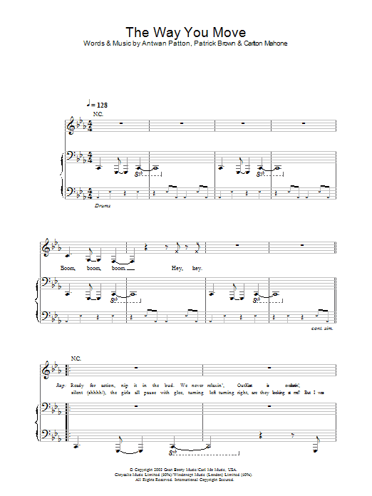 OutKast The Way You Move sheet music preview music notes and score for Piano, Vocal & Guitar (Right-Hand Melody) including 6 page(s)