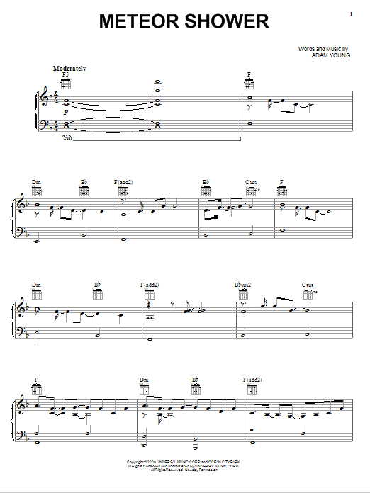 Owl City Meteor Shower sheet music preview music notes and score for Easy Piano including 3 page(s)