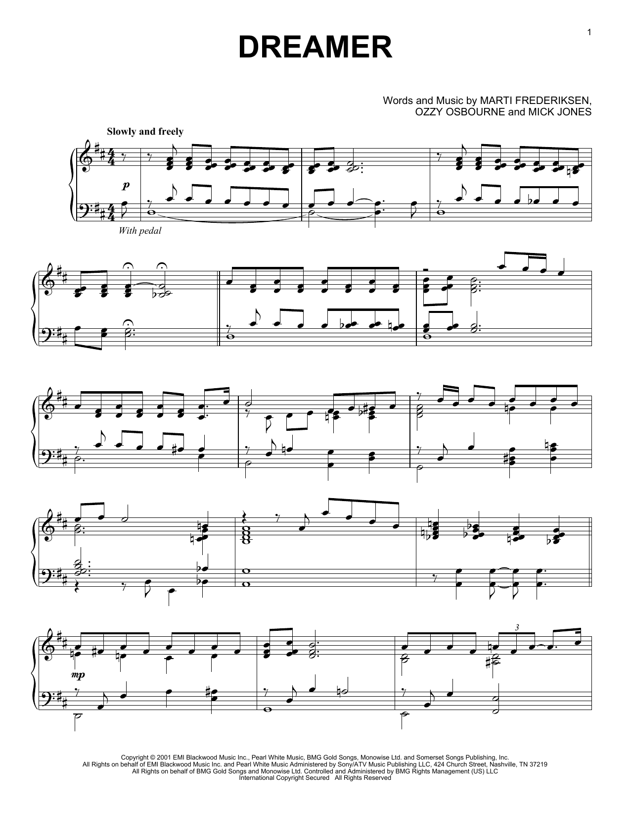 Download Ozzy Osbourne 'Dreamer' Digital Sheet Music Notes & Chords and start playing in minutes