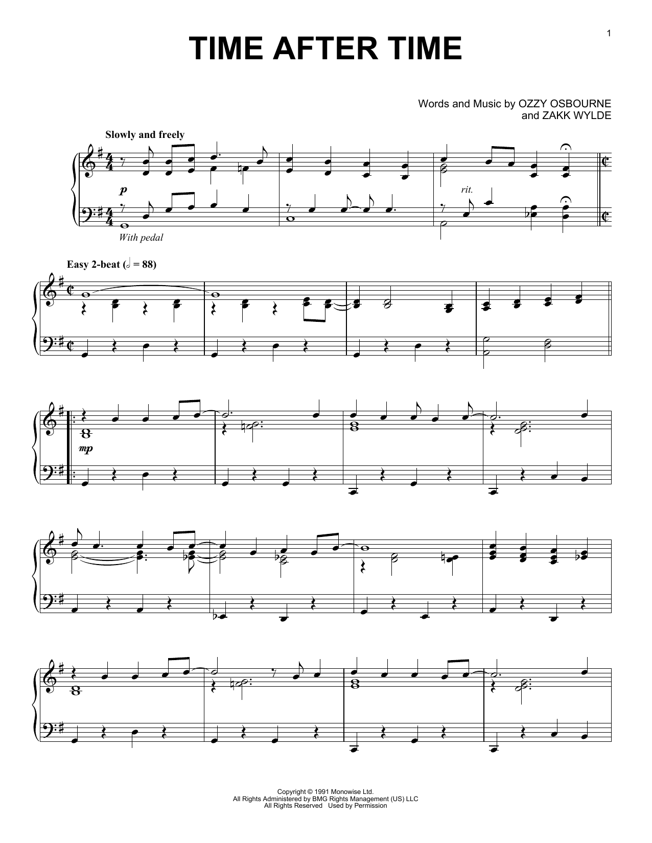 Download Ozzy Osbourne 'Time After Time' Digital Sheet Music Notes & Chords and start playing in minutes