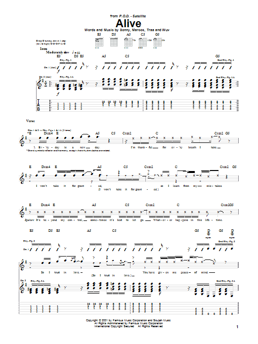P.O.D. (Payable On Death) Alive sheet music preview music notes and score for Guitar Tab including 6 page(s)