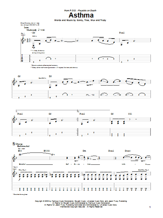 P.O.D. (Payable On Death) Asthma sheet music preview music notes and score for Guitar Tab including 5 page(s)