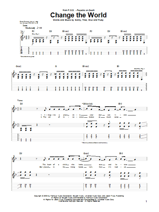 P.O.D. (Payable On Death) Change The World sheet music preview music notes and score for Guitar Tab including 5 page(s)