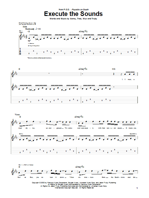 P.O.D. (Payable On Death) Execute The Sounds sheet music preview music notes and score for Guitar Tab including 5 page(s)