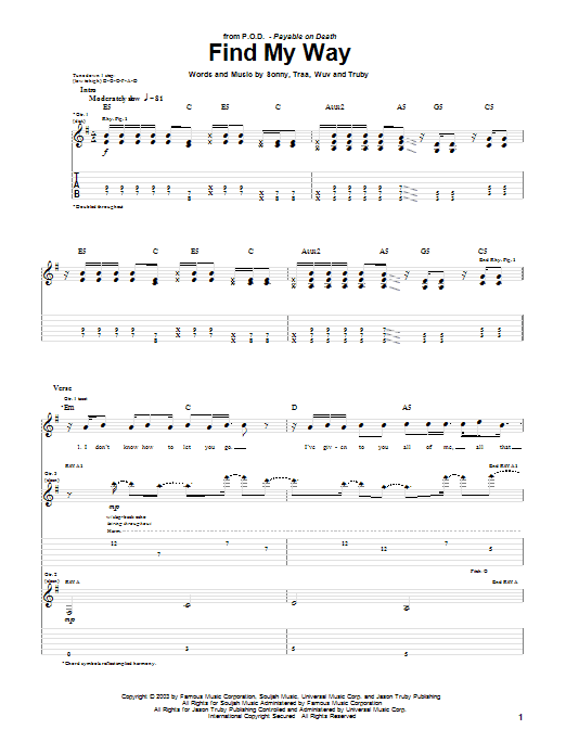 P.O.D. (Payable On Death) Find My Way sheet music preview music notes and score for Guitar Tab including 5 page(s)