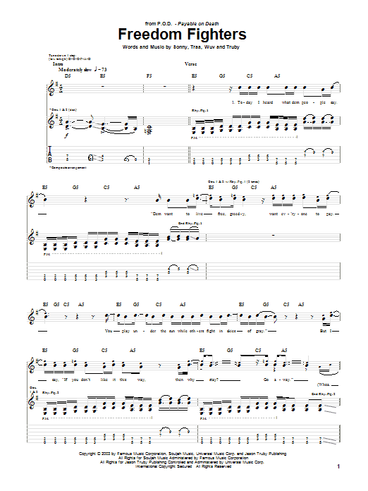 P.O.D. (Payable On Death) Freedom Fighters sheet music preview music notes and score for Guitar Tab including 7 page(s)