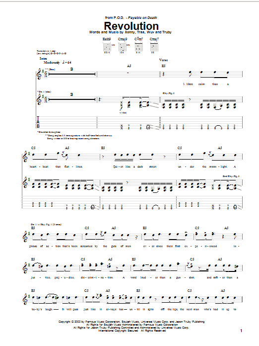 P.O.D. (Payable On Death) Revolution sheet music preview music notes and score for Guitar Tab including 7 page(s)