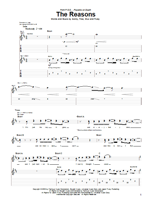 P.O.D. (Payable On Death) The Reasons sheet music preview music notes and score for Guitar Tab including 7 page(s)