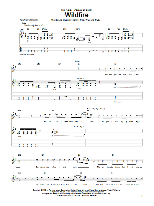P.O.D. (Payable On Death) Wildfire sheet music preview music notes and score for Guitar Tab including 4 page(s)