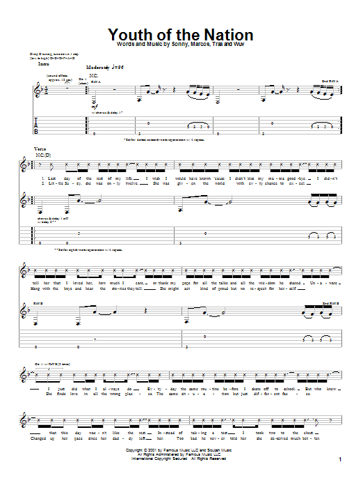 P.O.D. (Payable On Death) Youth Of The Nation sheet music preview music notes and score for Guitar Tab including 5 page(s)