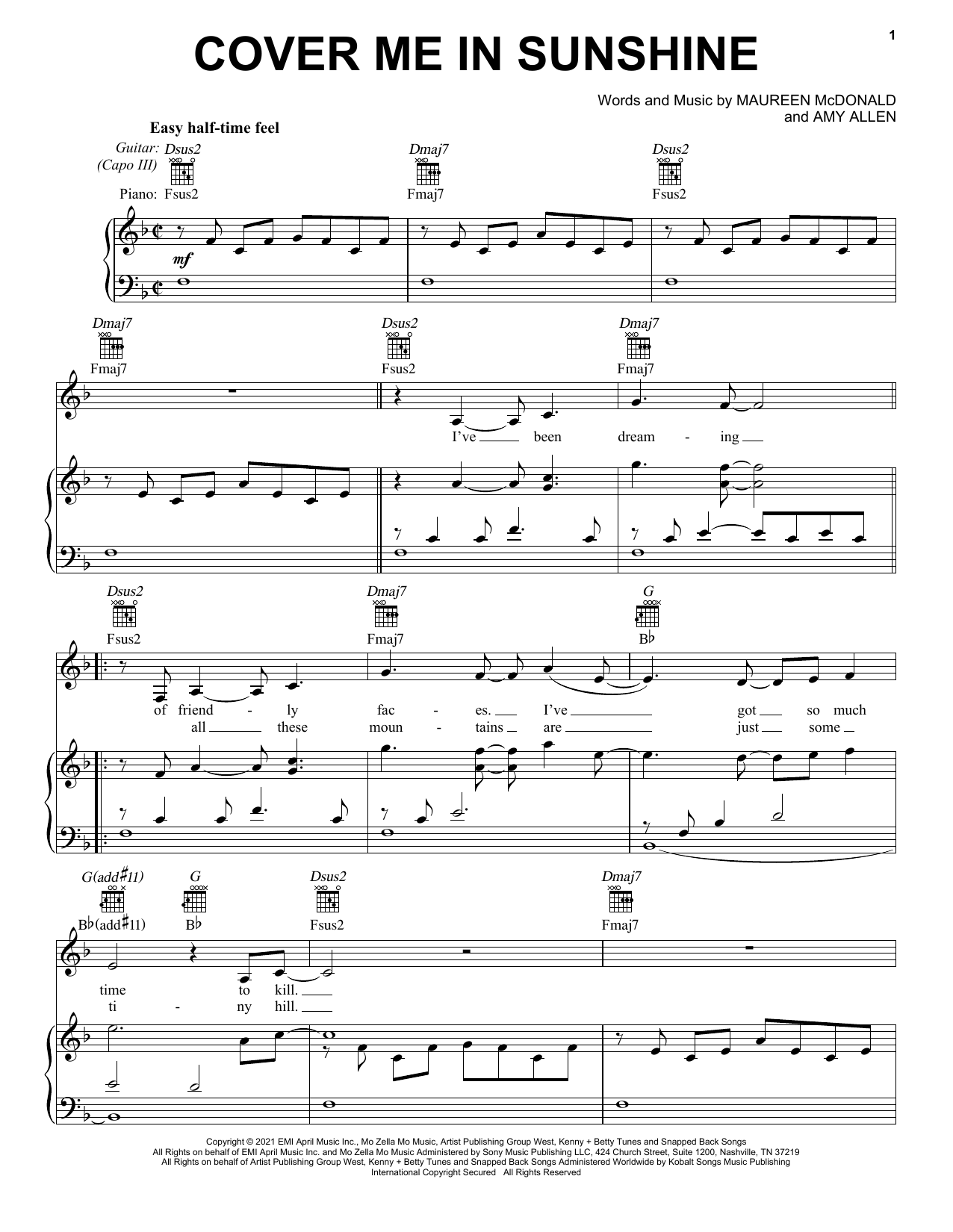 P!nk & Willow Sage Hart Cover Me In Sunshine sheet music preview music notes and score for Piano, Vocal & Guitar (Right-Hand Melody) including 5 page(s)