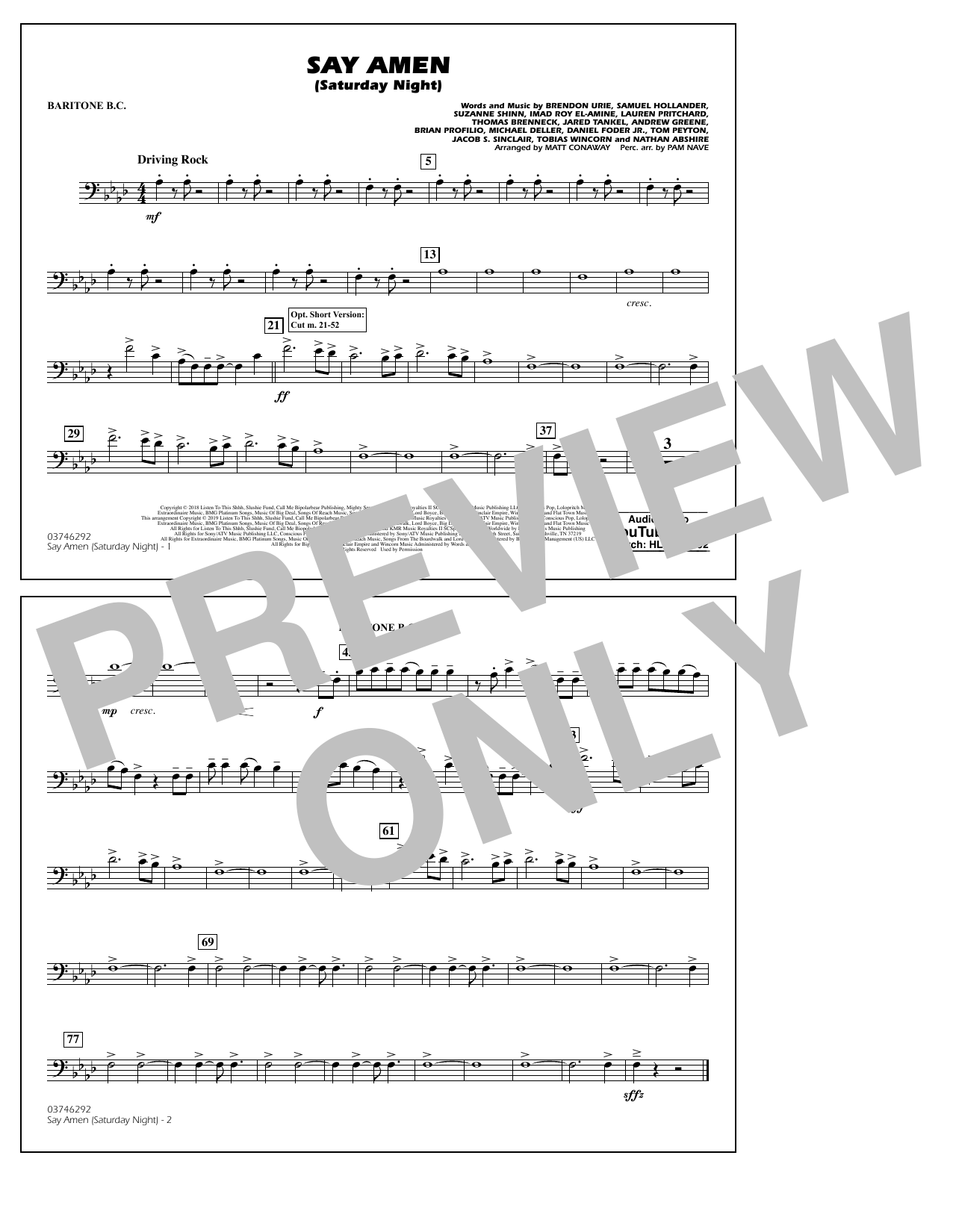 Panic! At The Disco Say Amen (Saturday Night) (arr. Matt Conaway) - Baritone B.C. sheet music preview music notes and score for Marching Band including 1 page(s)