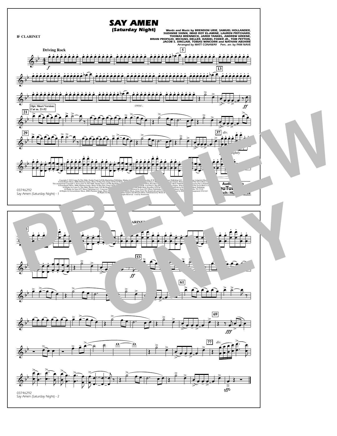 Panic! At The Disco Say Amen (Saturday Night) (arr. Matt Conaway) - Bb Clarinet sheet music preview music notes and score for Marching Band including 1 page(s)