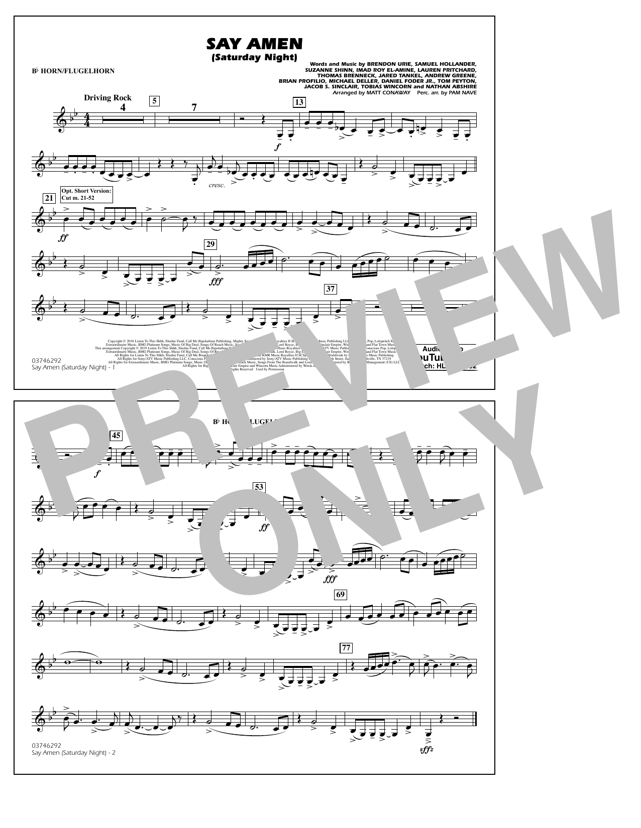 Panic! At The Disco Say Amen (Saturday Night) (arr. Matt Conaway) - Bb Horn/Flugelhorn sheet music preview music notes and score for Marching Band including 1 page(s)
