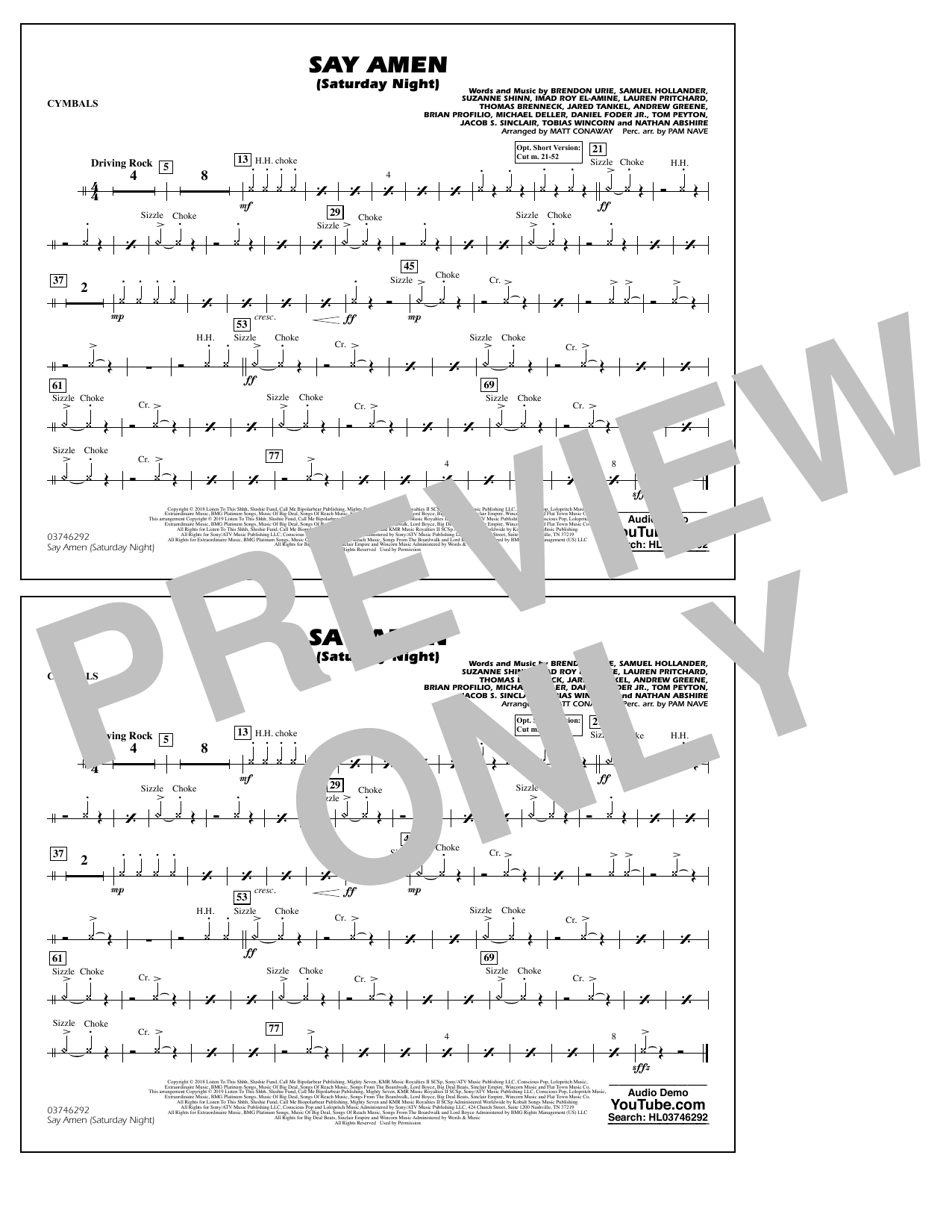 Panic! At The Disco Say Amen (Saturday Night) (arr. Matt Conaway) - Cymbals sheet music preview music notes and score for Marching Band including 1 page(s)