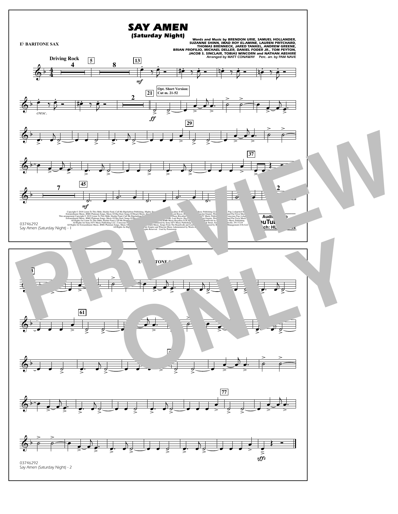 Panic! At The Disco Say Amen (Saturday Night) (arr. Matt Conaway) - Eb Baritone Sax sheet music preview music notes and score for Marching Band including 1 page(s)