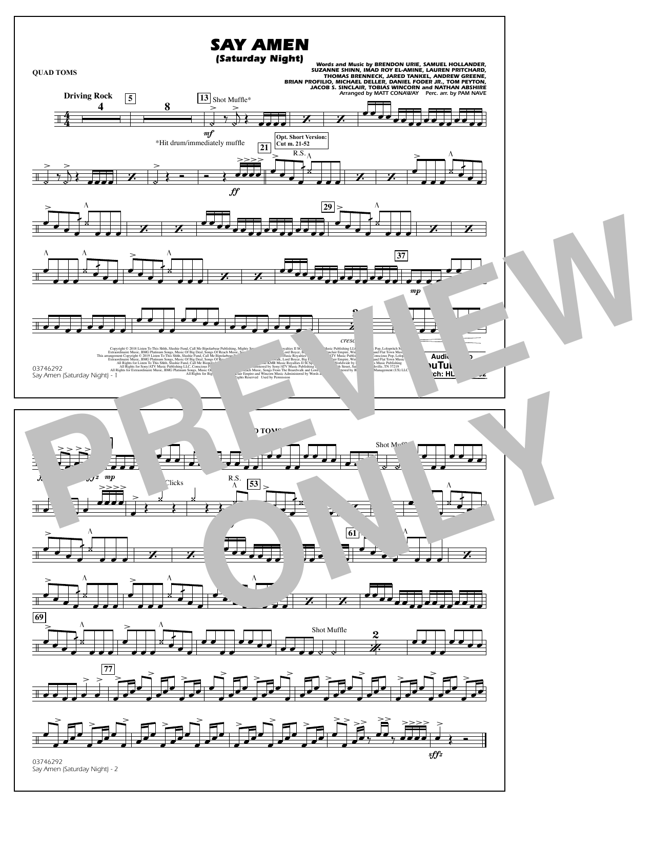 Panic! At The Disco Say Amen (Saturday Night) (arr. Matt Conaway) - Quad Toms sheet music preview music notes and score for Marching Band including 1 page(s)