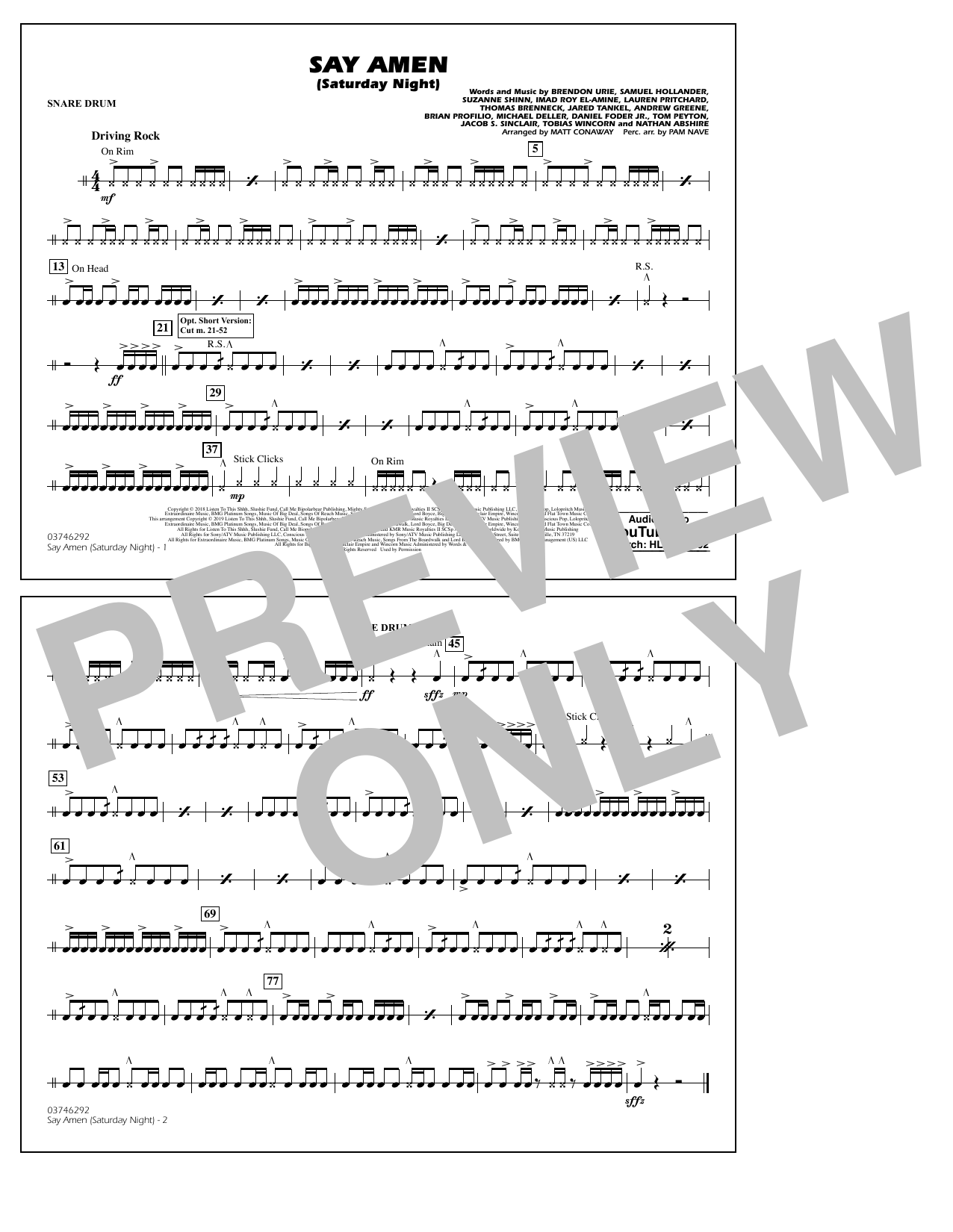 Panic! At The Disco Say Amen (Saturday Night) (arr. Matt Conaway) - Snare Drum sheet music preview music notes and score for Marching Band including 1 page(s)