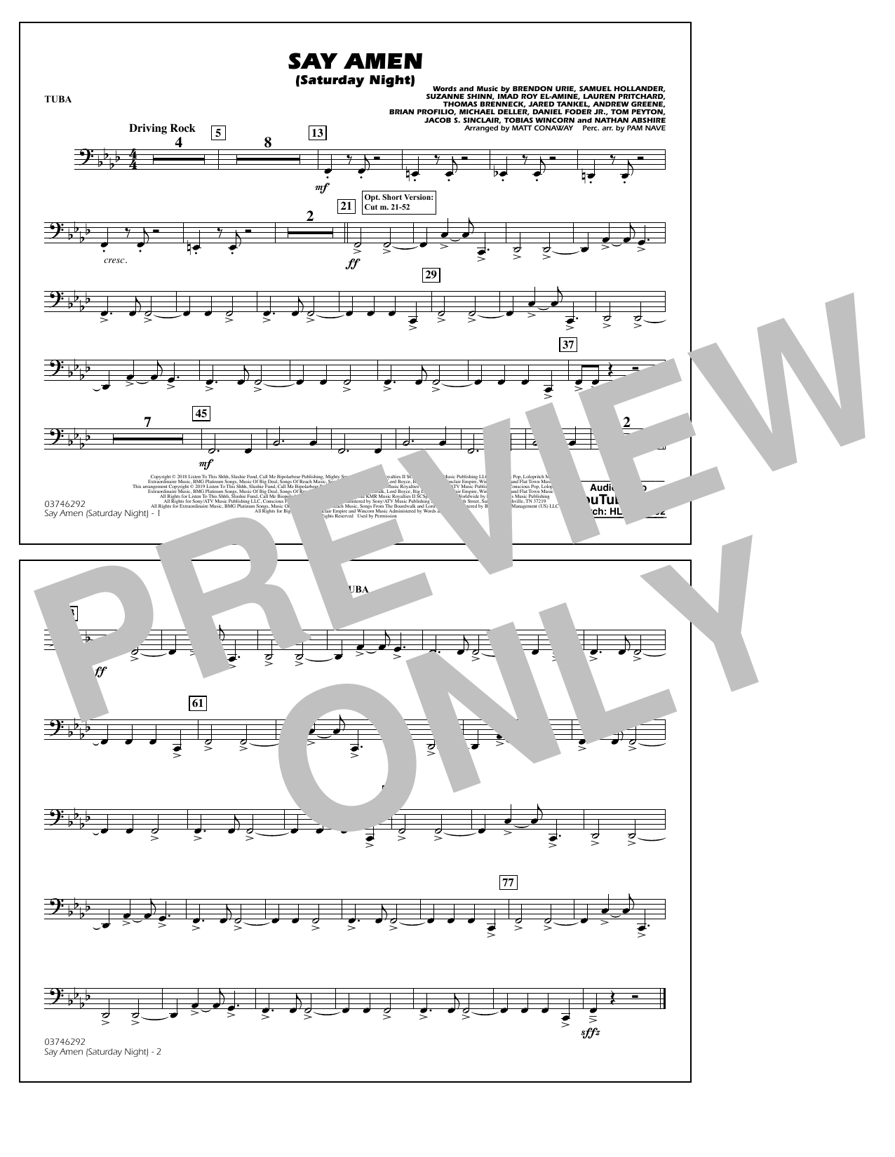 Panic! At The Disco Say Amen (Saturday Night) (arr. Matt Conaway) - Tuba sheet music preview music notes and score for Marching Band including 1 page(s)
