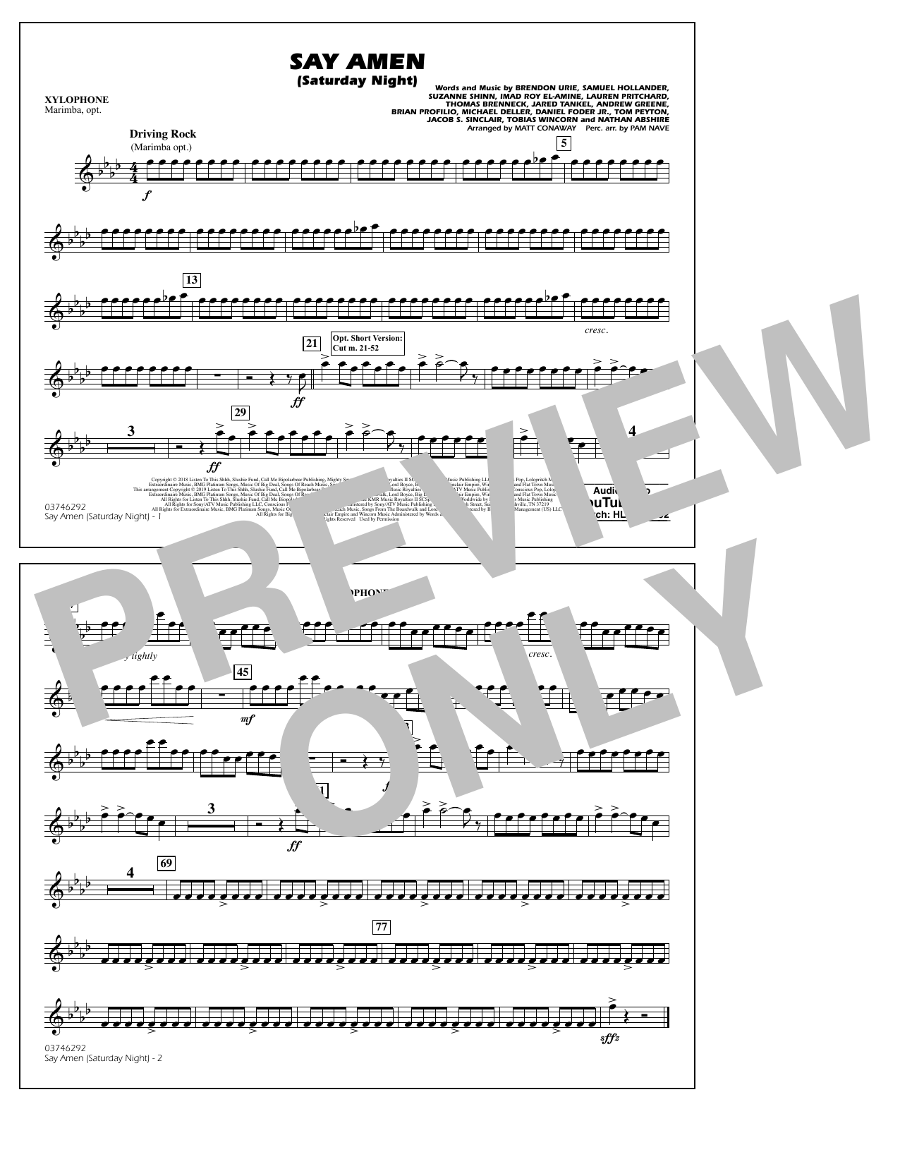 Panic! At The Disco Say Amen (Saturday Night) (arr. Matt Conaway) - Xylophone sheet music preview music notes and score for Marching Band including 1 page(s)