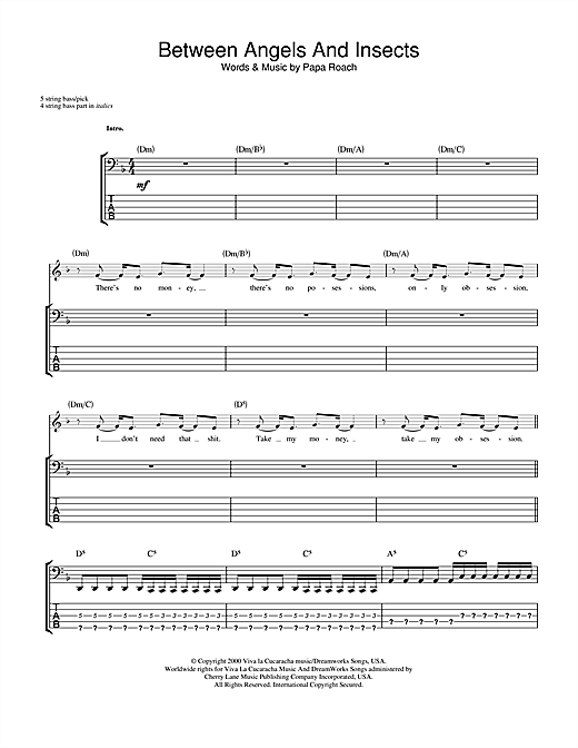 Papa Roach Between Angels And Insects sheet music notes and chords