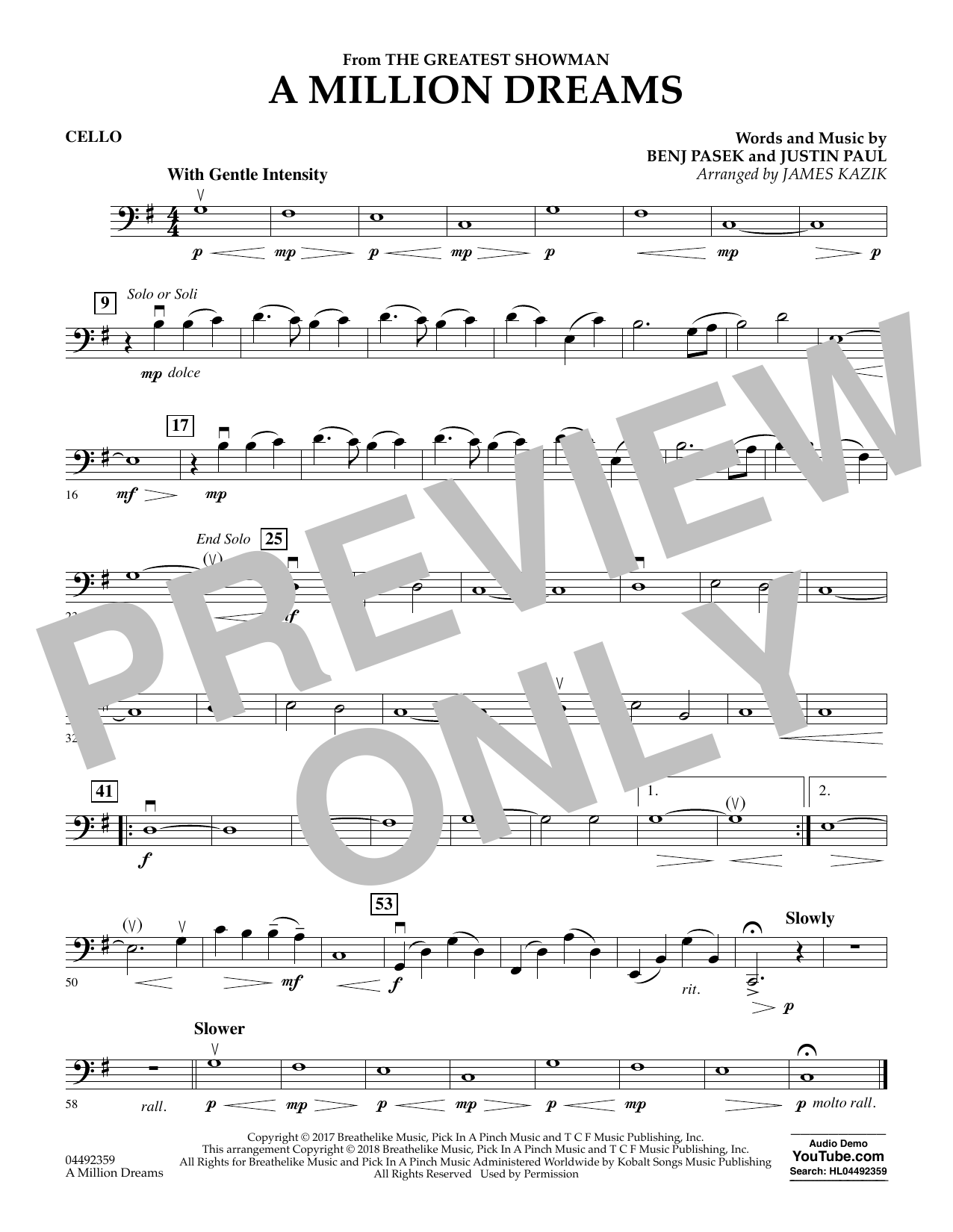 Pasek & Paul A Million Dreams (from The Greatest Showman) (arr. James Kazik) - Cello sheet music preview music notes and score for String Quartet including 1 page(s)