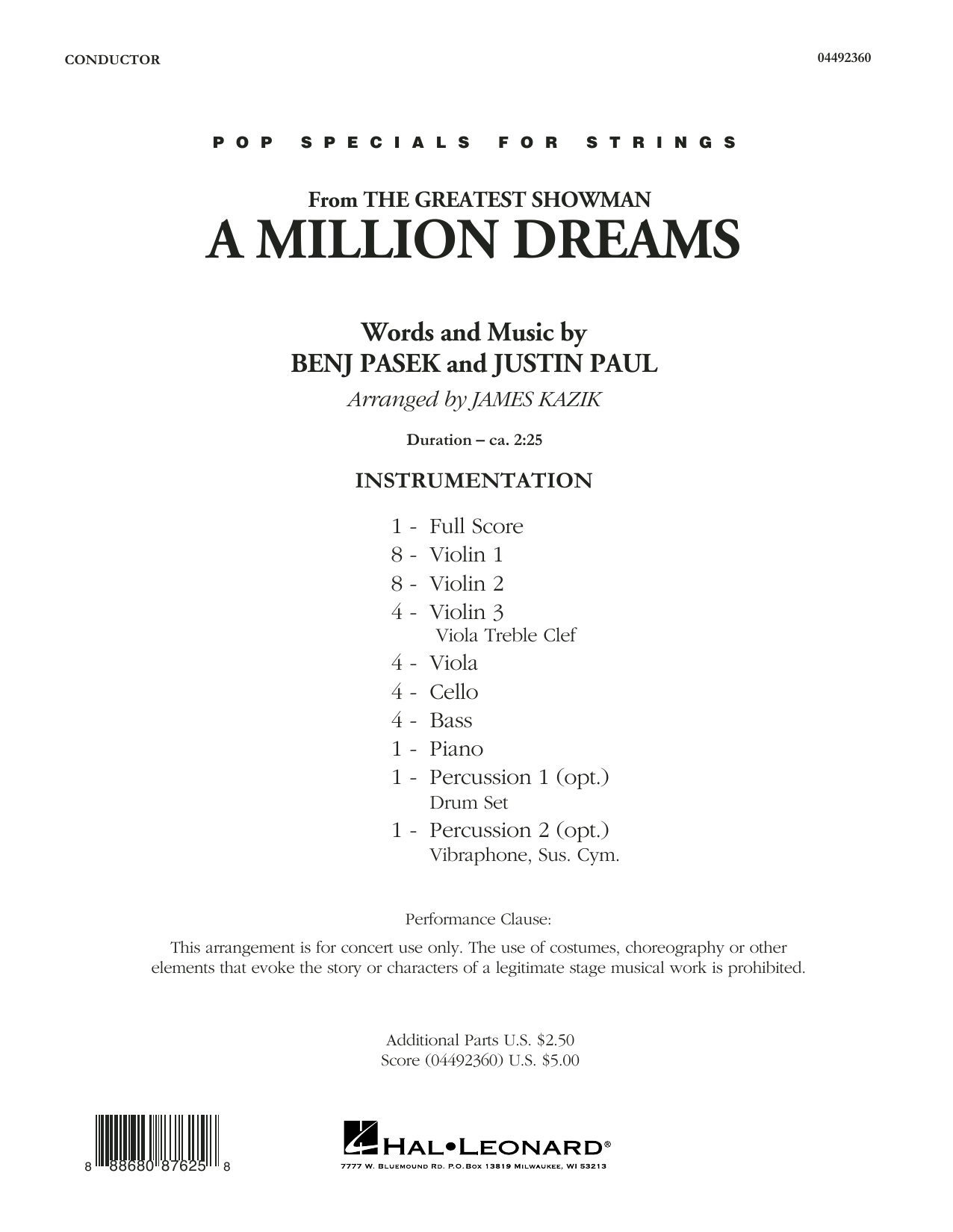 Pasek & Paul A Million Dreams (from The Greatest Showman) (arr. James Kazik) - Conductor Score (Full Score) sheet music preview music notes and score for Orchestra including 7 page(s)