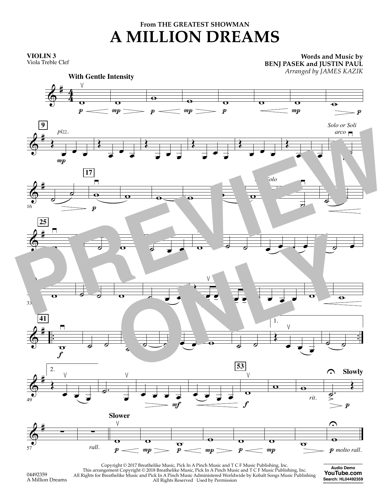 Pasek & Paul A Million Dreams (from The Greatest Showman) (arr. James Kazik) - Violin 3 (Viola Treble Clef) sheet music preview music notes and score for Orchestra including 1 page(s)