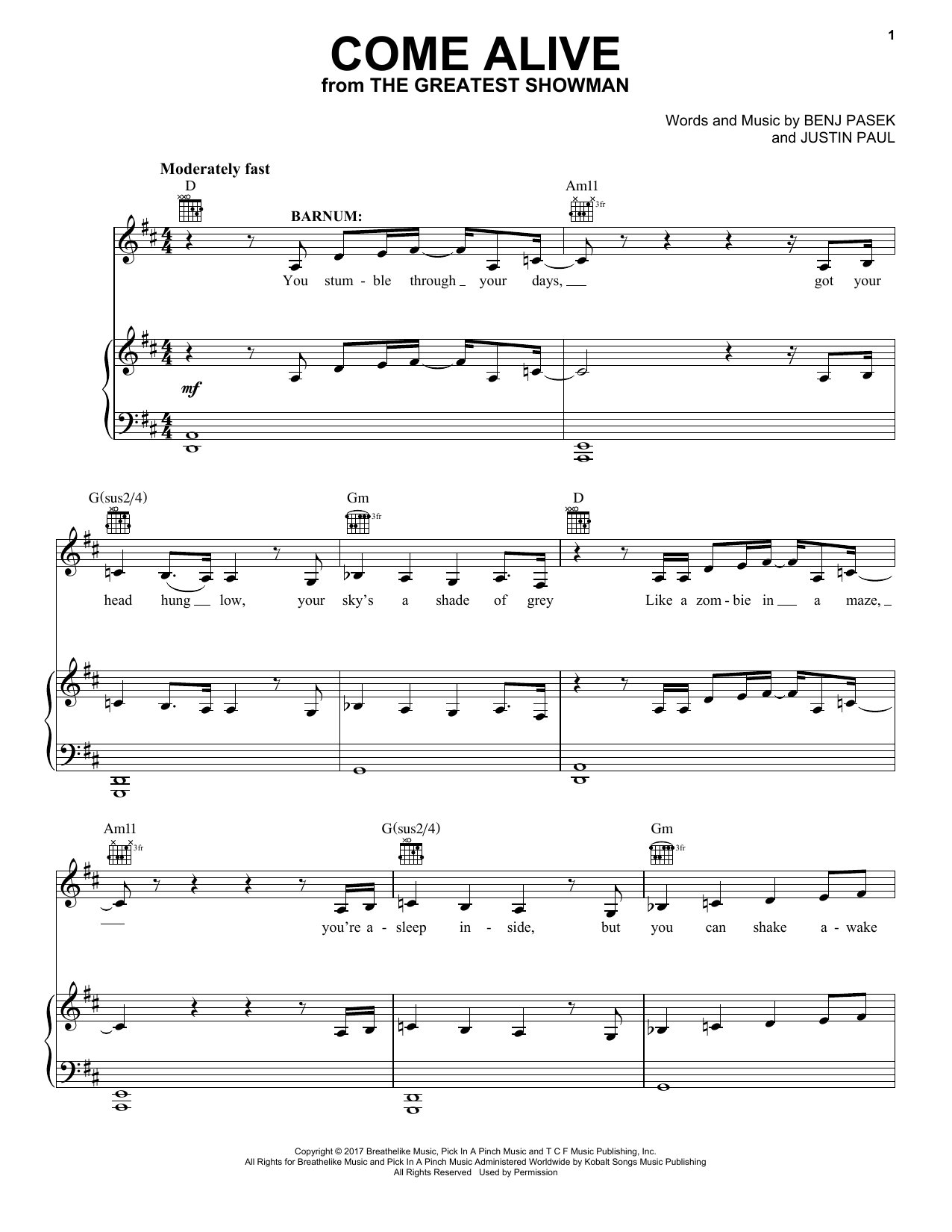 Pasek & Paul Come Alive (from The Greatest Showman) sheet music preview music notes and score for Piano Duet including 6 page(s)