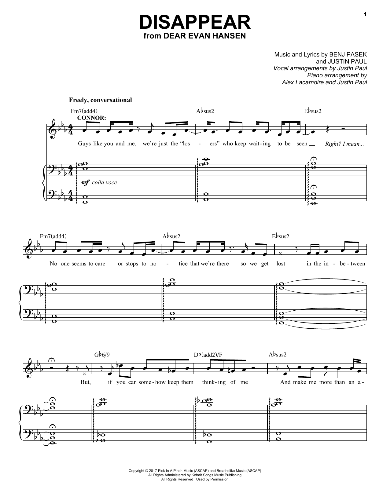 Download Pasek & Paul 'Disappear (from Dear Evan Hansen)' Digital Sheet Music Notes & Chords and start playing in minutes