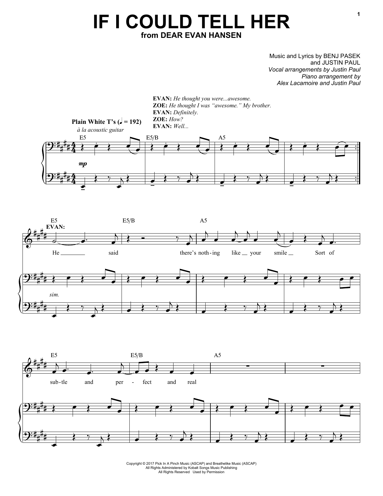 Pasek & Paul If I Could Tell Her (from Dear Evan Hansen) sheet music preview music notes and score for E-Z Play Today including 10 page(s)