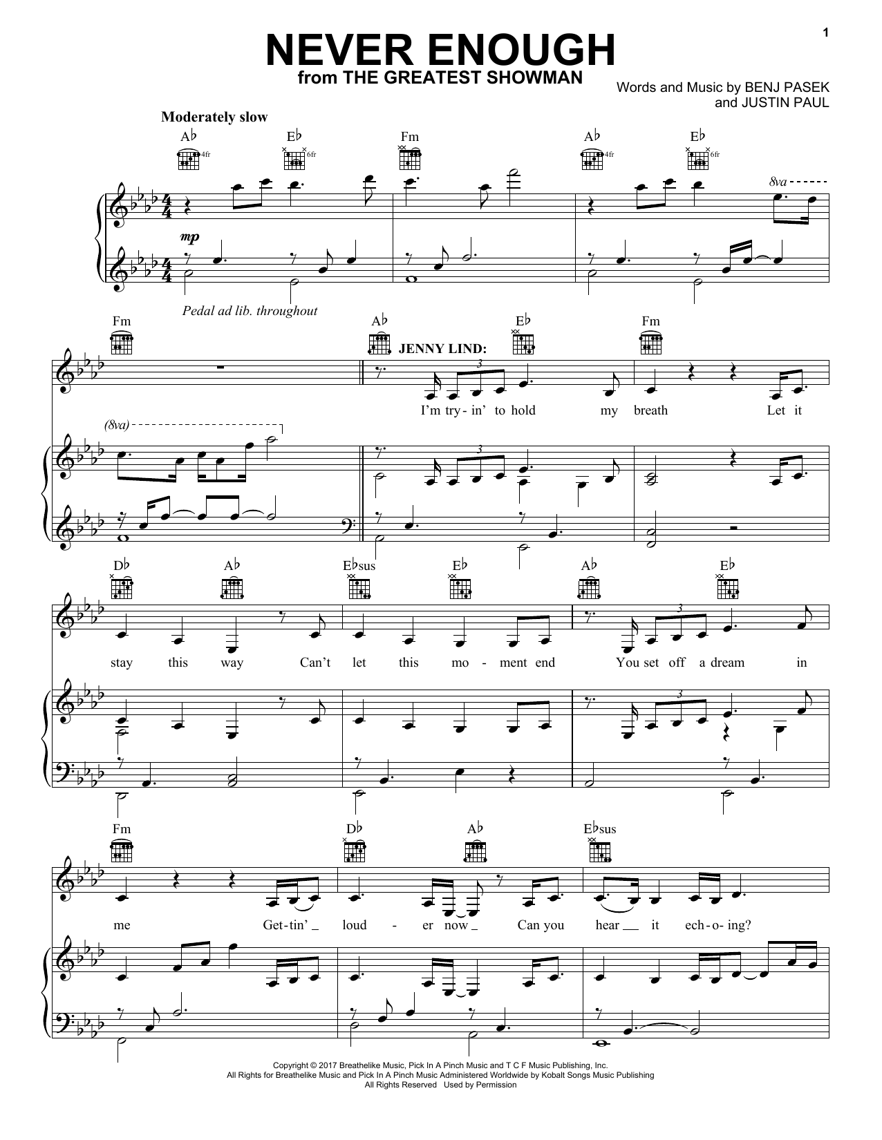 Pasek & Paul Never Enough (from The Greatest Showman) sheet music preview music notes and score for Piano Duet including 3 page(s)