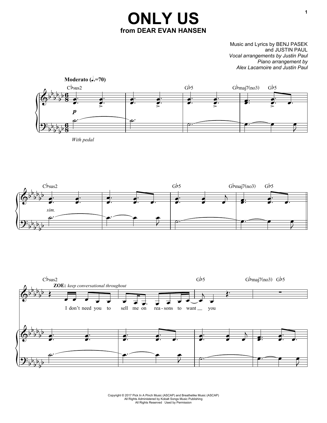 Download Pasek & Paul 'Only Us (from Dear Evan Hansen)' Digital Sheet Music Notes & Chords and start playing in minutes