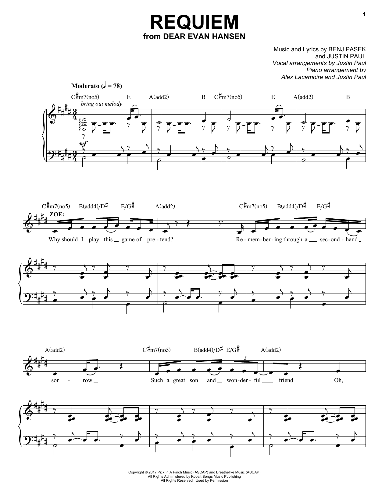 Download Pasek & Paul 'Requiem (from Dear Evan Hansen)' Digital Sheet Music Notes & Chords and start playing in minutes