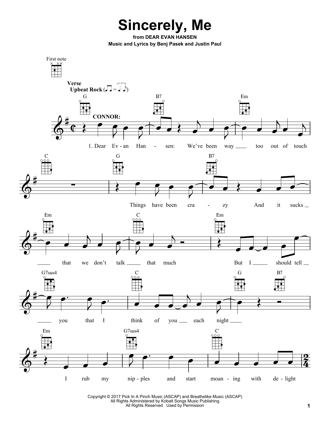 Download Pasek & Paul 'Sincerely, Me (from Dear Evan Hansen)' Digital Sheet Music Notes & Chords and start playing in minutes
