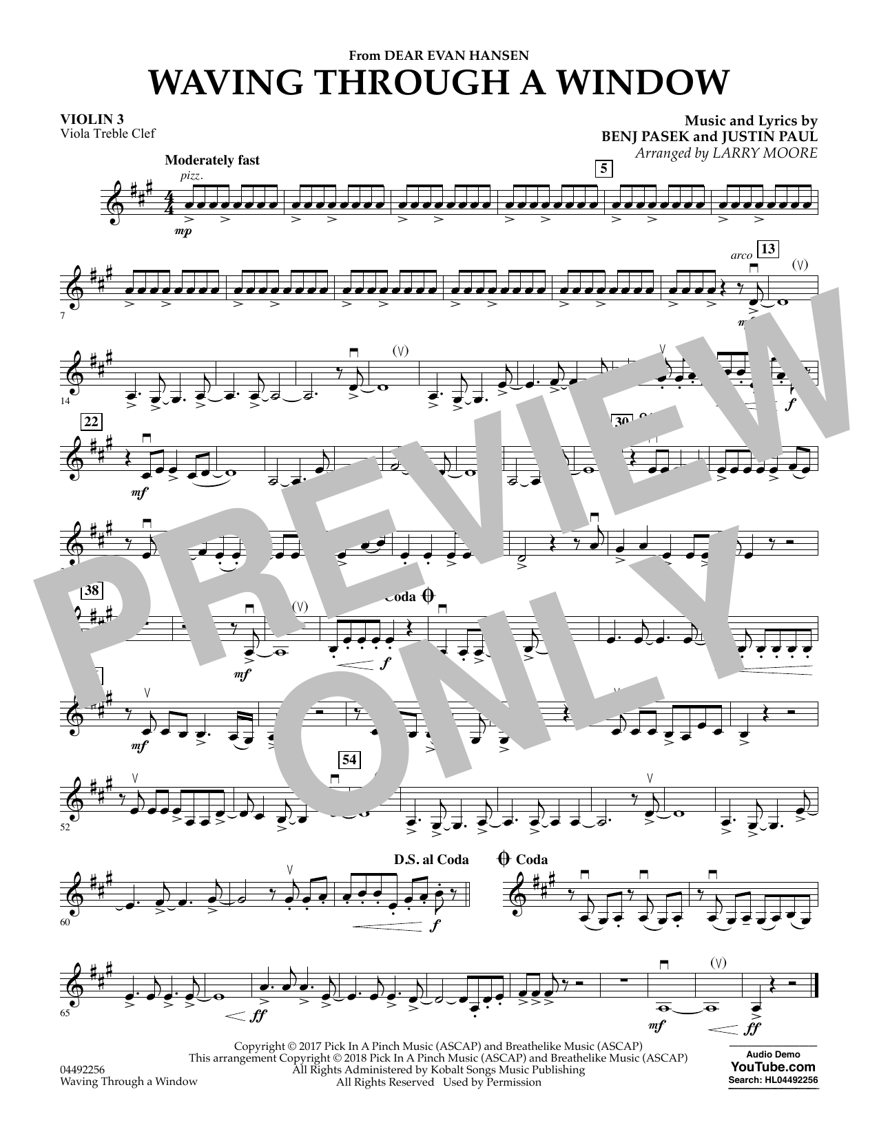 Pasek & Paul Waving Through a Window (from Dear Evan Hansen) (arr. Larry Moore) - Violin 3 (Viola Treble Clef) sheet music preview music notes and score for Orchestra including 1 page(s)