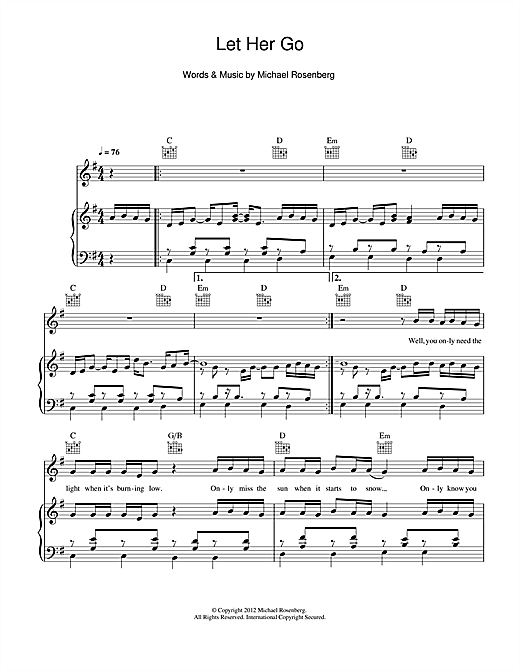 Passenger Let Her Go Sheet Music Notes Download Pdf Folk Score Piano Vocal Guitar